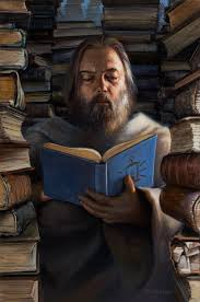 hermit with books