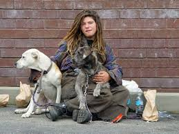 homeless teen with dogs
