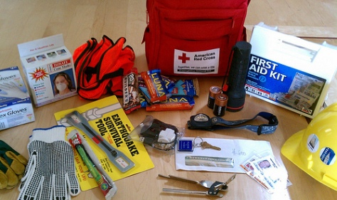 Earthquake supplies kit