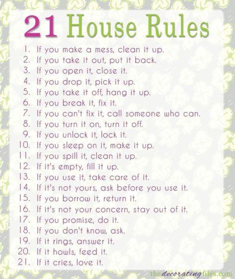 21 house rules