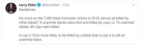 Larry Elder cop 18 x more likely to be killed by black man